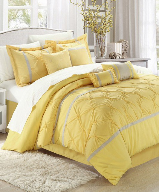 Best Yellow Vermont Embroidered Comforter Set Modern With Pictures
