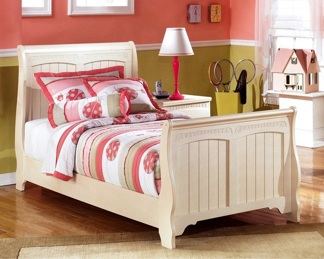 Best Ashley Cottage Retreat Cream Sleigh Bed Set Contemporary With Pictures
