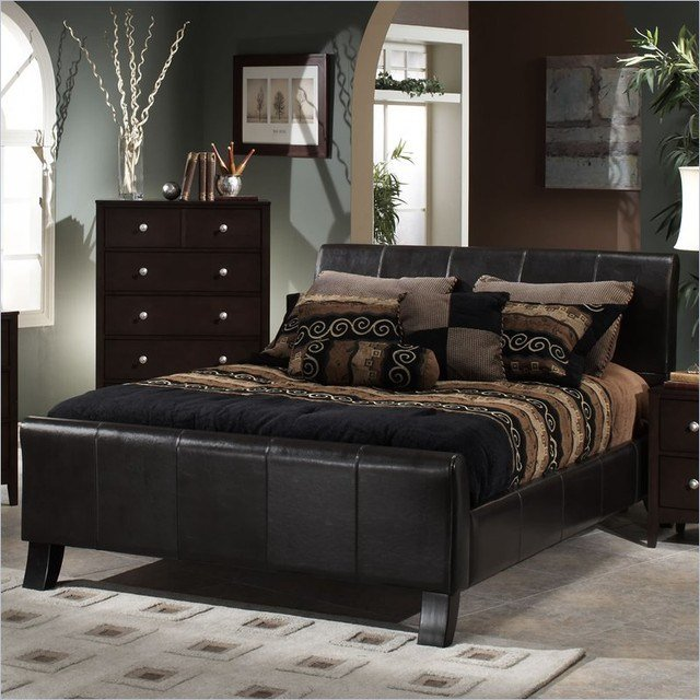 Best Hillsdale Brookland Dark Brown Leather Upholstered Sleigh With Pictures