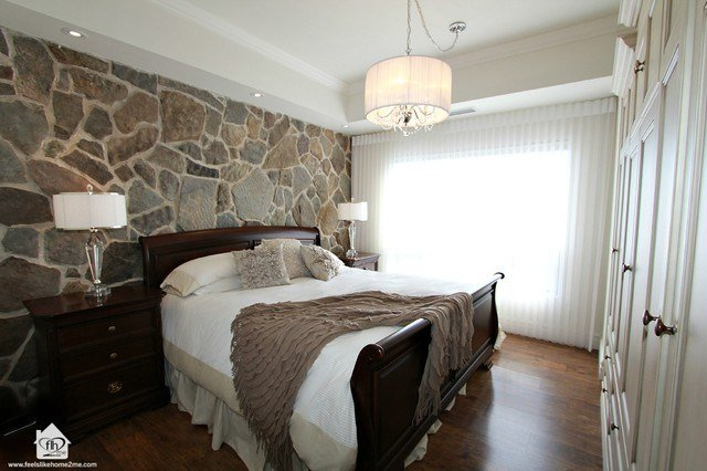 Best Master Bedroom With Stone Wall Feature Contemporary Bedroom Toronto By Feels Like Home 2 With Pictures