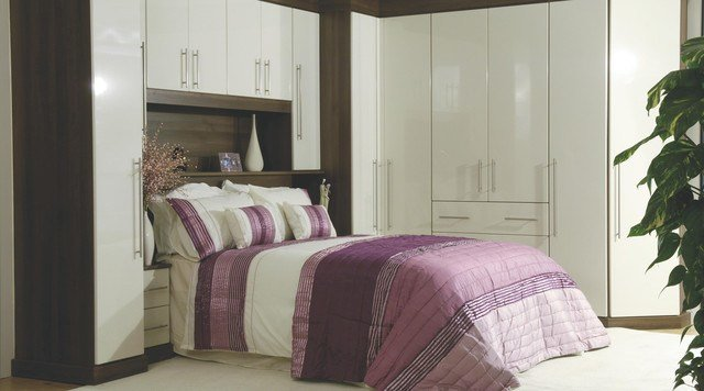 Best Contemporary Gloss White Walnut Modular Bedroom Furniture System Contemporary Bedroom With Pictures