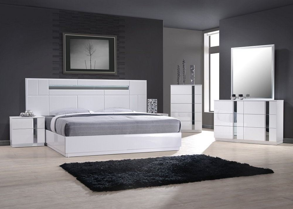 Best J M Furniture Palermo White Lacquer With Chrome Accents With Pictures