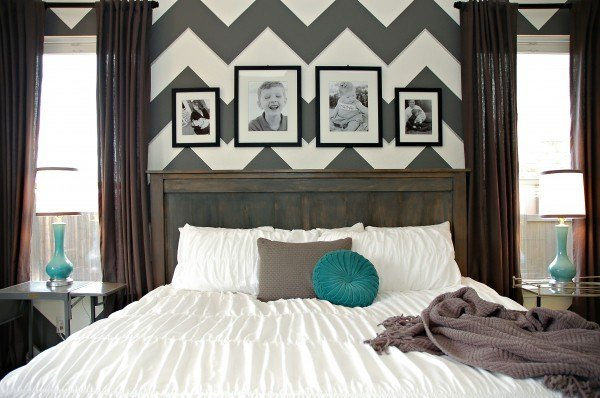 Best Diy Farmhouse Headboard Bed Chevron Zig Zag Gray White Teal With Pictures