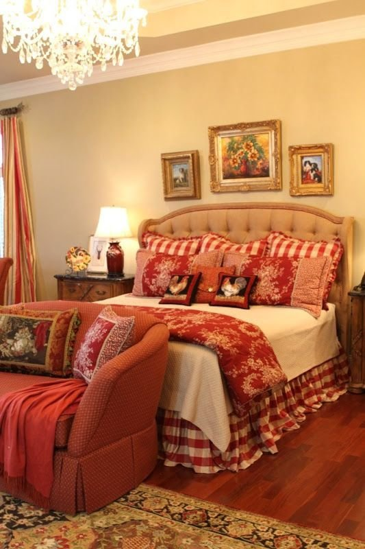 Best French Country Bedroom With Red Plaid Home Inspiration With Pictures