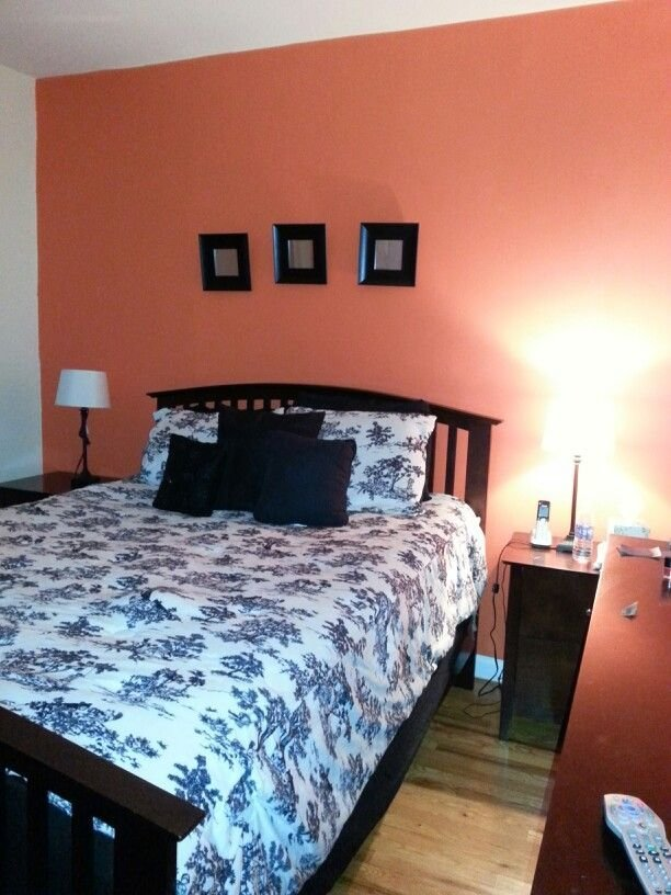 Best My Coral Accent Wall Bedroom Painting The House Pinterest With Pictures