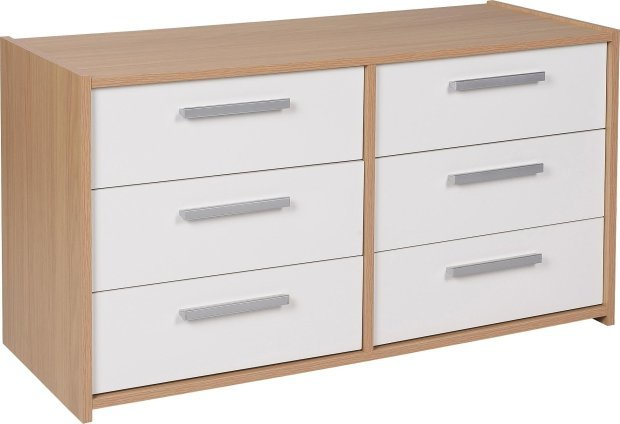 Best Buy Home New Sywell 3 3 Drawer Chest Oak Effect White With Pictures