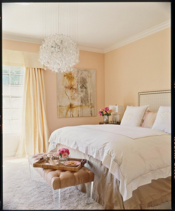 Best Pale Peach Walls And Drapes Instantly Soften A Bedroom While A Glass Decorating With Soft But With Pictures