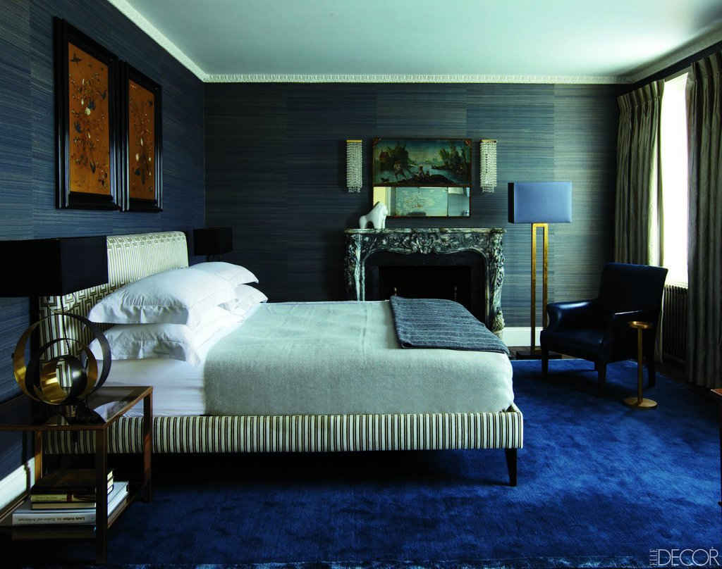 Best Grass Cloth Walls And A Peacock Blue Carpet Add Textural With Pictures