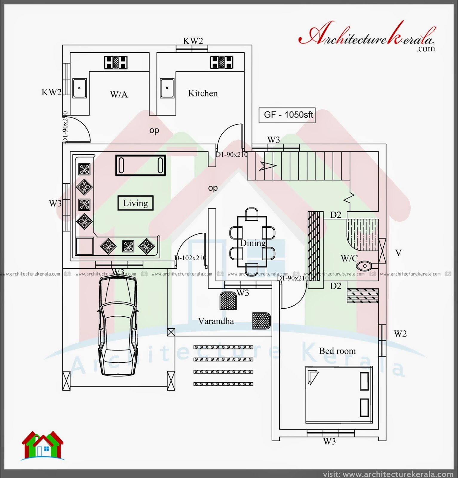 Best Three Bedroom Two Storey House Plan Architecture Kerala With Pictures