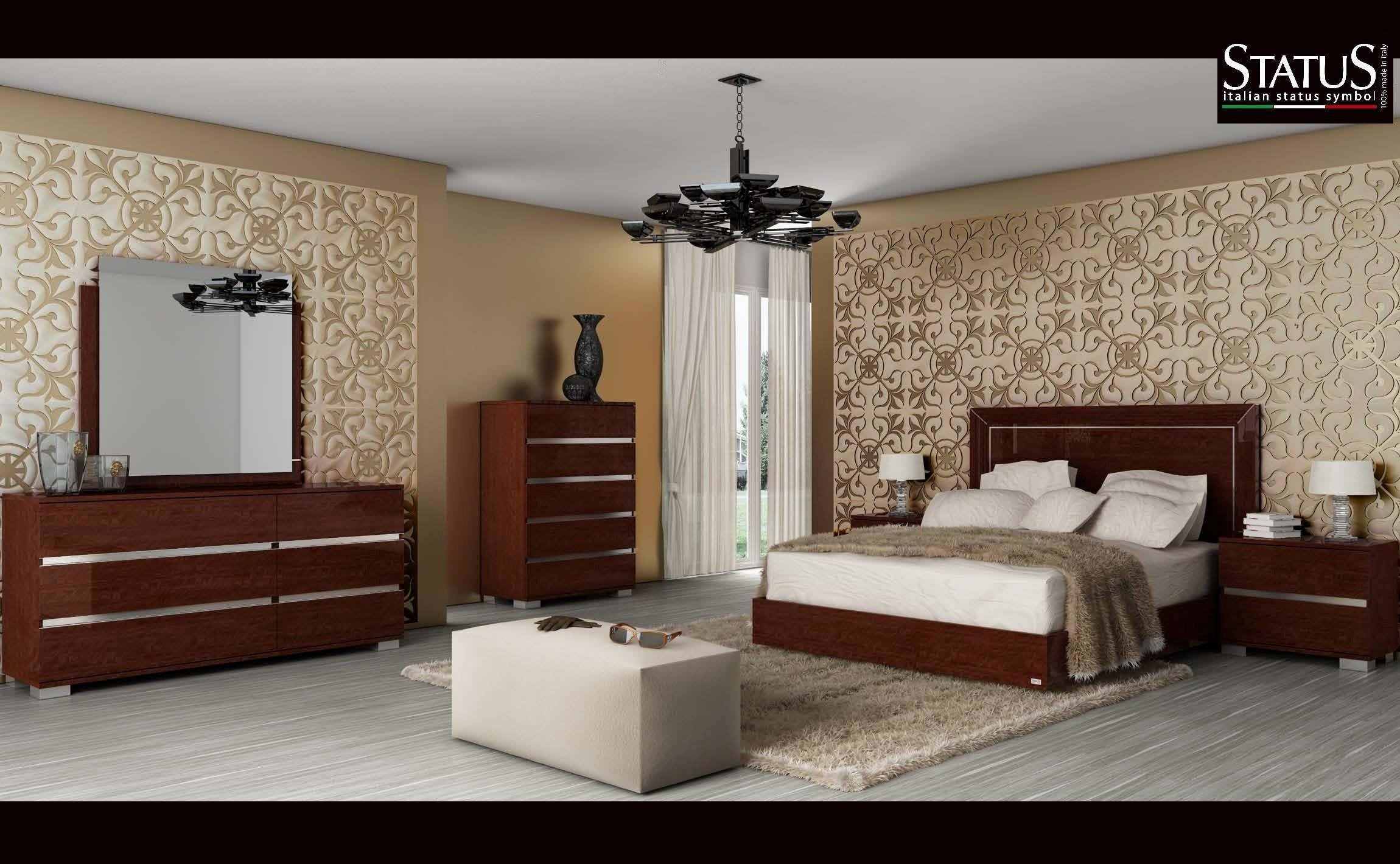 Best Live King Size Modern Bedroom Set W Led Light Walnut 5 With Pictures