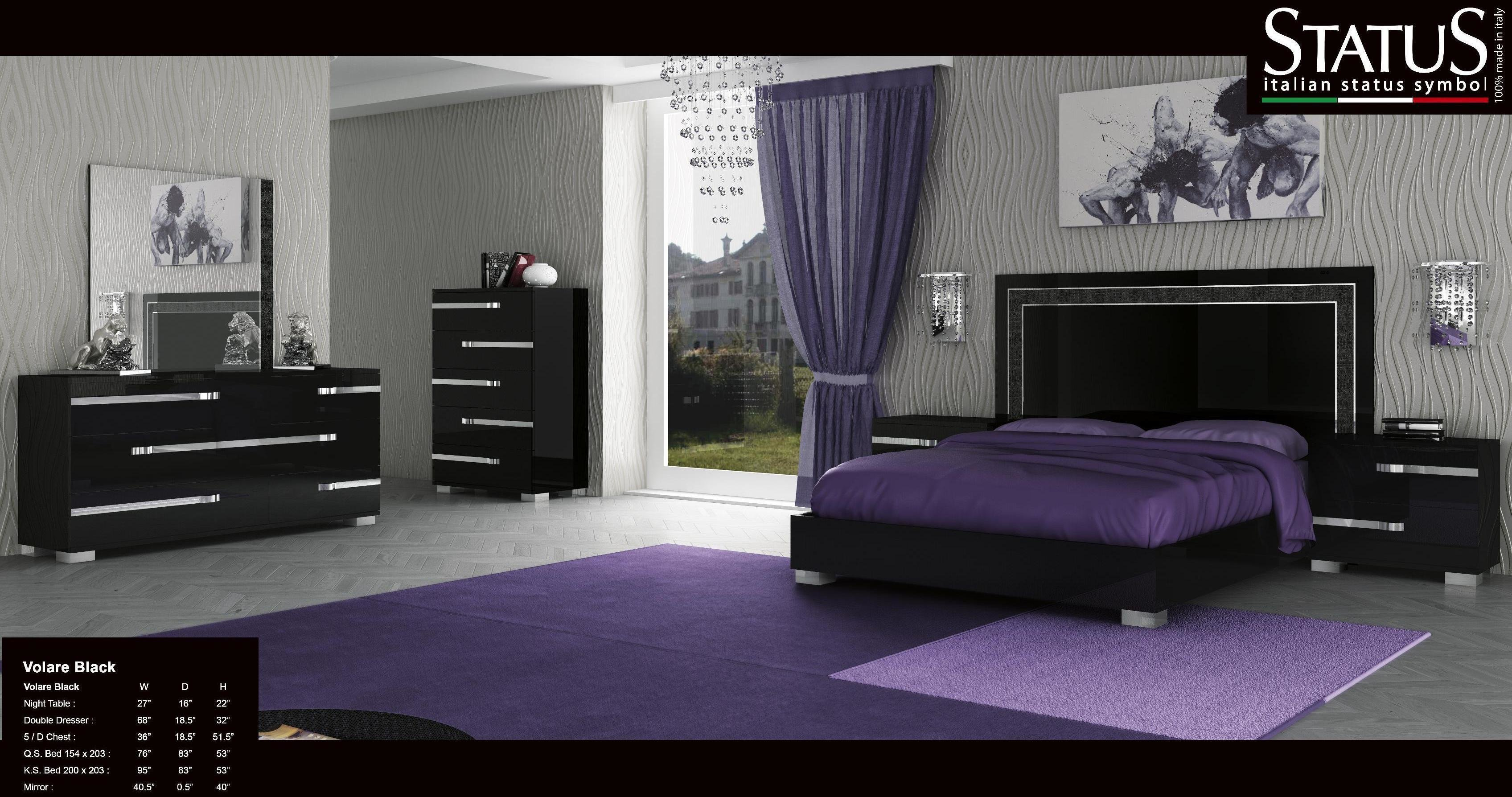 Best Volare King Size Modern Black Bedroom Set 5Pc Made In Italy Ebay With Pictures