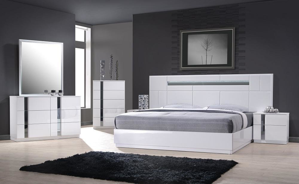 Best Monte Carlo Queen Size White Lacquer Chrome 5Pc Bedroom With Pictures