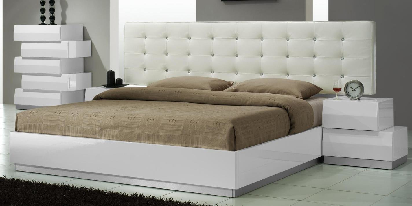 Best Aliya King Size Modern Leatherette White Lacquered With Pictures