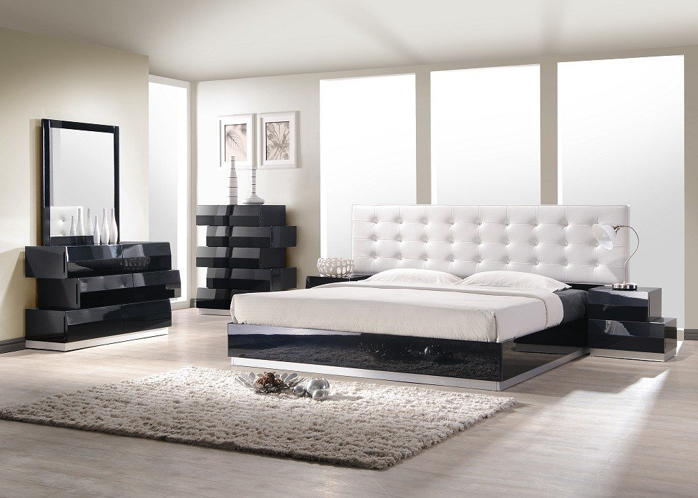 Best Aliya King Size Modern Style Bedroom Set Black White With Pictures