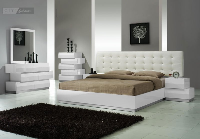 Best Aliya King Size Modern Style Bedroom Set White 5Pc Set With Pictures