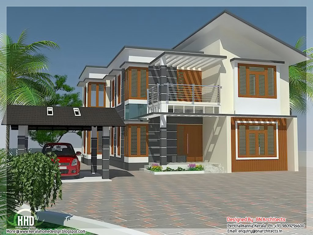 Best 4 Bedroom House Elevation With Free Floor Plan Kerala With Pictures
