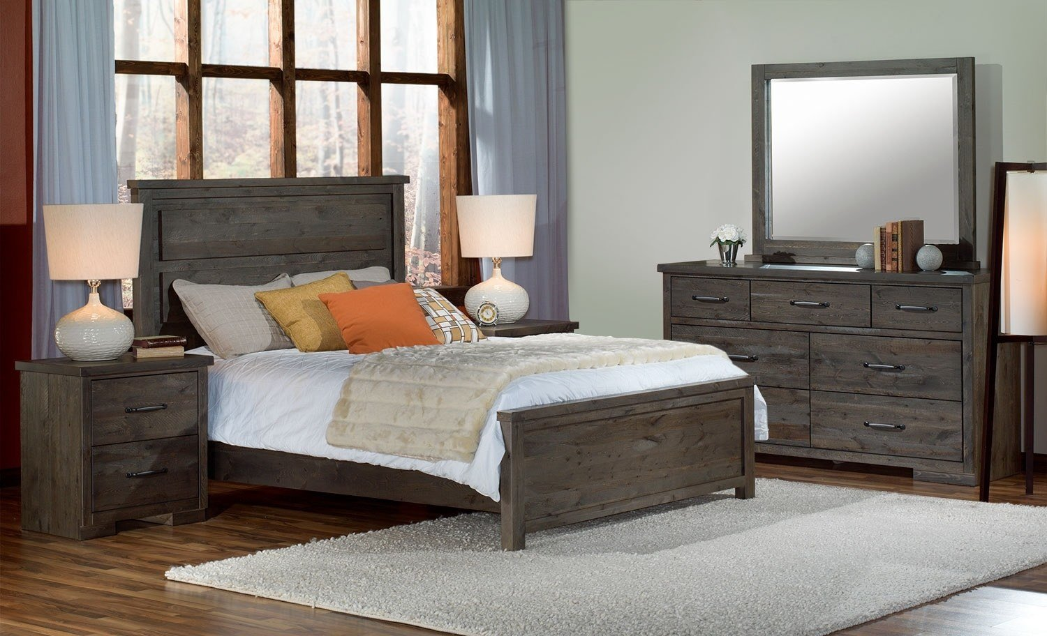 Best Pine Ridge 5 Piece Queen Bedroom Set Slate Leon S With Pictures