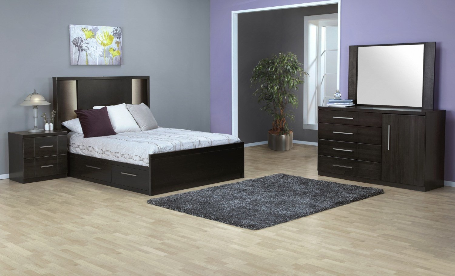 Best Seville 7 Piece Queen Storage Bedroom Set Charcoal Leon S With Pictures