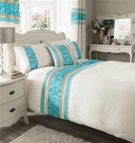 Best Cream Teal Luxury Faux Silk Bedding King Size Duvet With Pictures