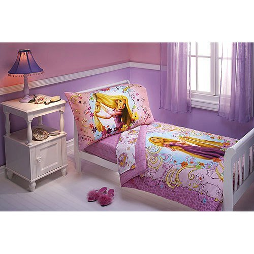 Best New 4Pc Tangled Toddler Bedding Disney Princess Purple With Pictures
