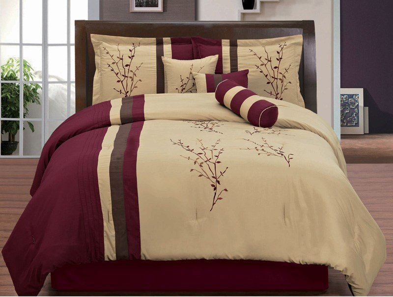 Best 7 Piece King Burgundy And Tan Floral Embroidered Comforter With Pictures