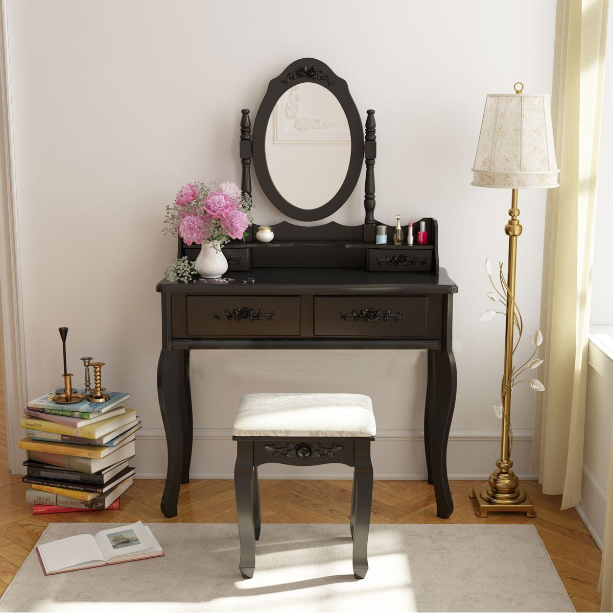 Best Vanity Makeup Dressing Jewelry 4 Drawer Table Set W Stool With Pictures