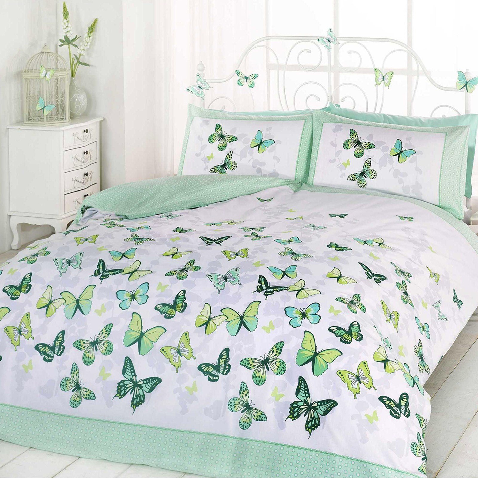Best Girls Butterfly Bedding Reversible Polka Dot Cotton Rich With Pictures