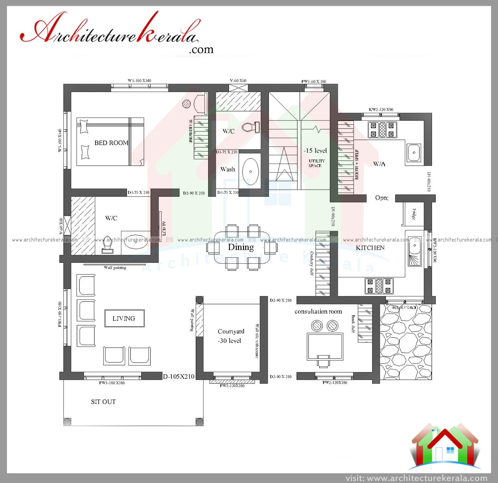 Best Three Bedroom House Plan And Elevation In 2000 Sq Ft With Pictures