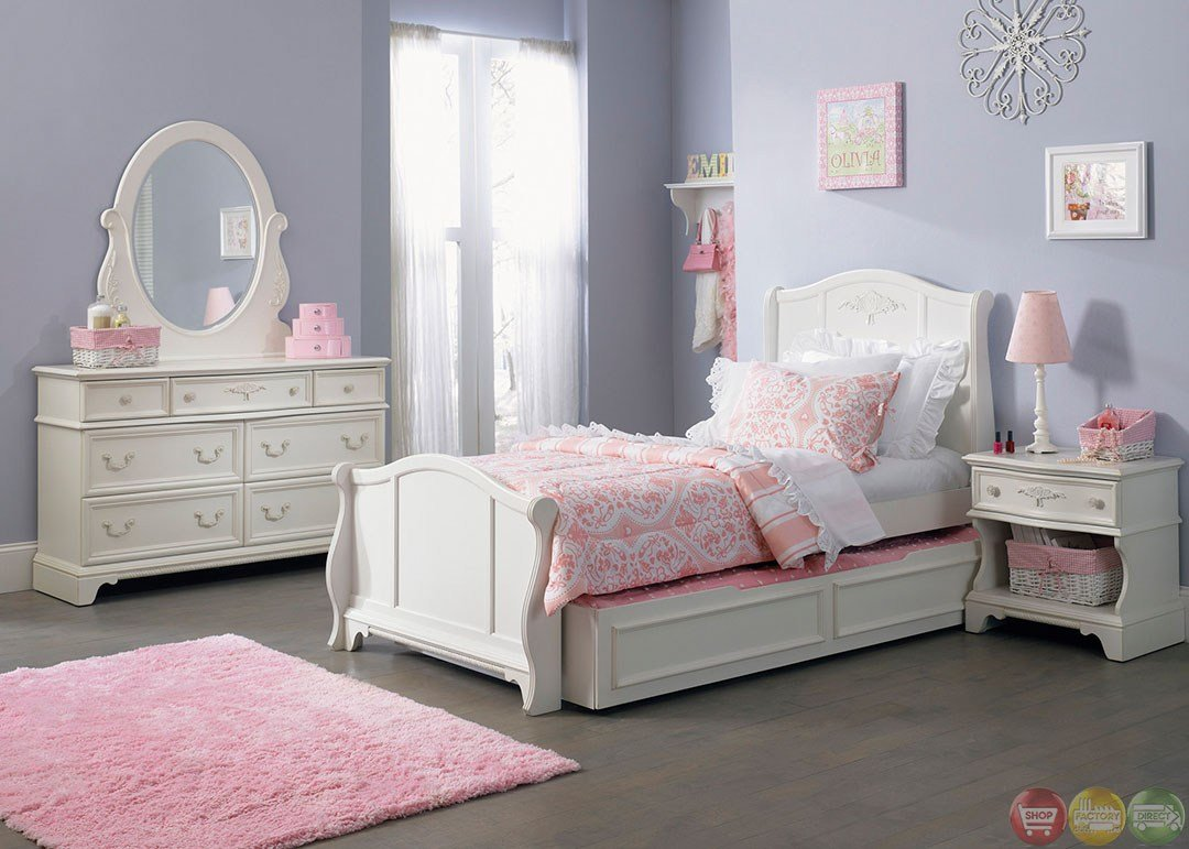 Best Arielle White Finish Youth Traditional Sleigh Bedroom Set With Pictures