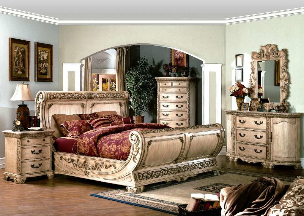 Best Cannes Ornate Traditional Queen Sleigh Bed Ivory White With Pictures
