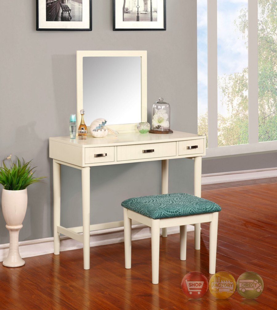 Best Garbo Simple White Bedroom Vanity Set With Bench With Pictures