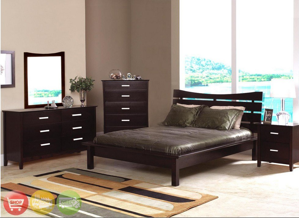 Best Modern Queen Cappuccino Finish Bedroom Furniture Set With Pictures