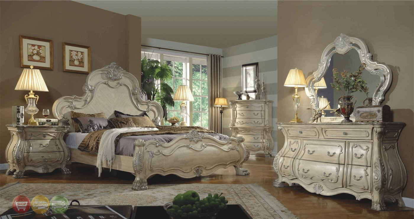 Best Traditional Antique White Victorian Queen Mansion Bed 4Pc With Pictures