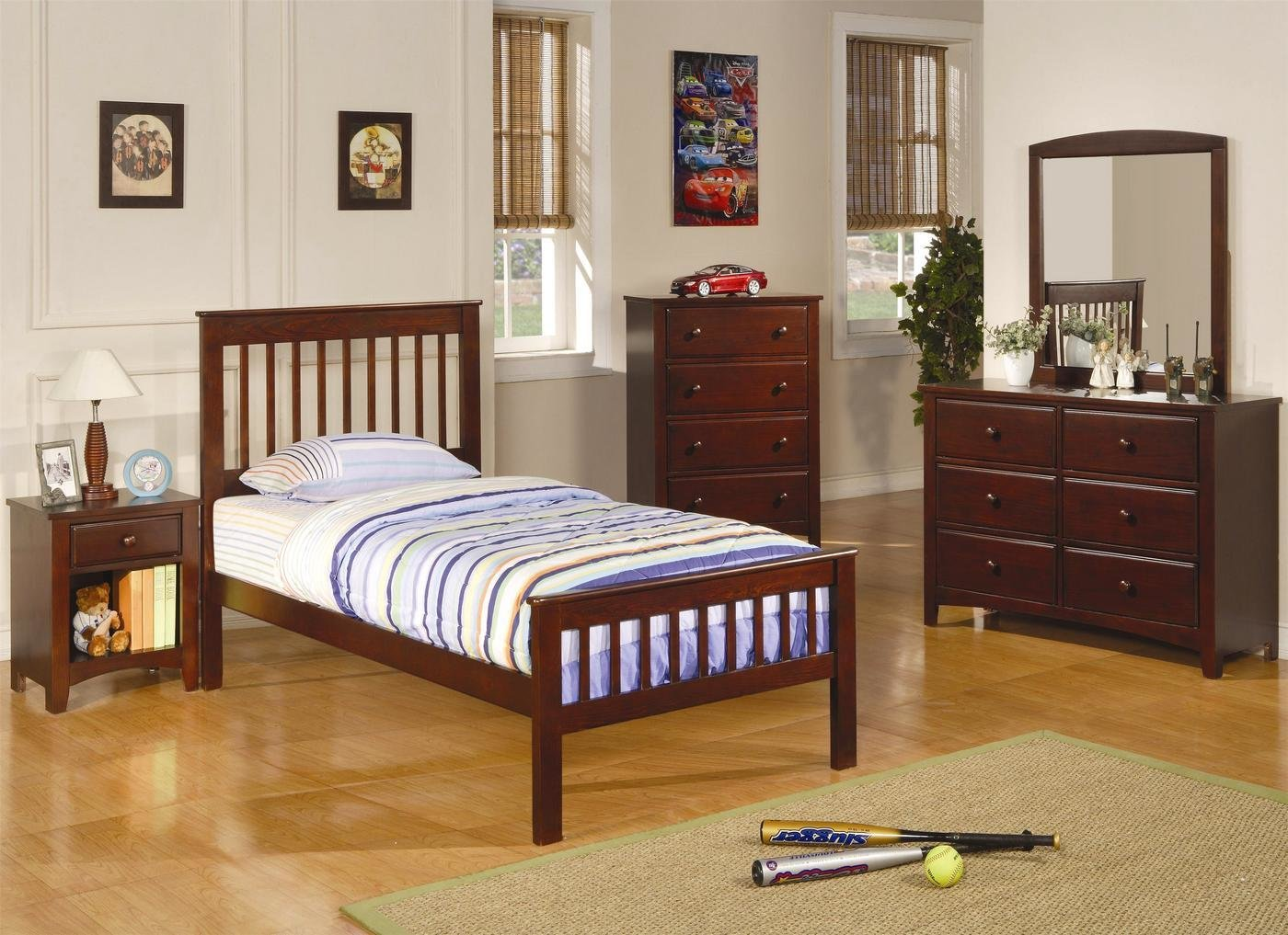 Best Parker Mission Style Brown Cherry Finish Twin Bedroom Set With Pictures