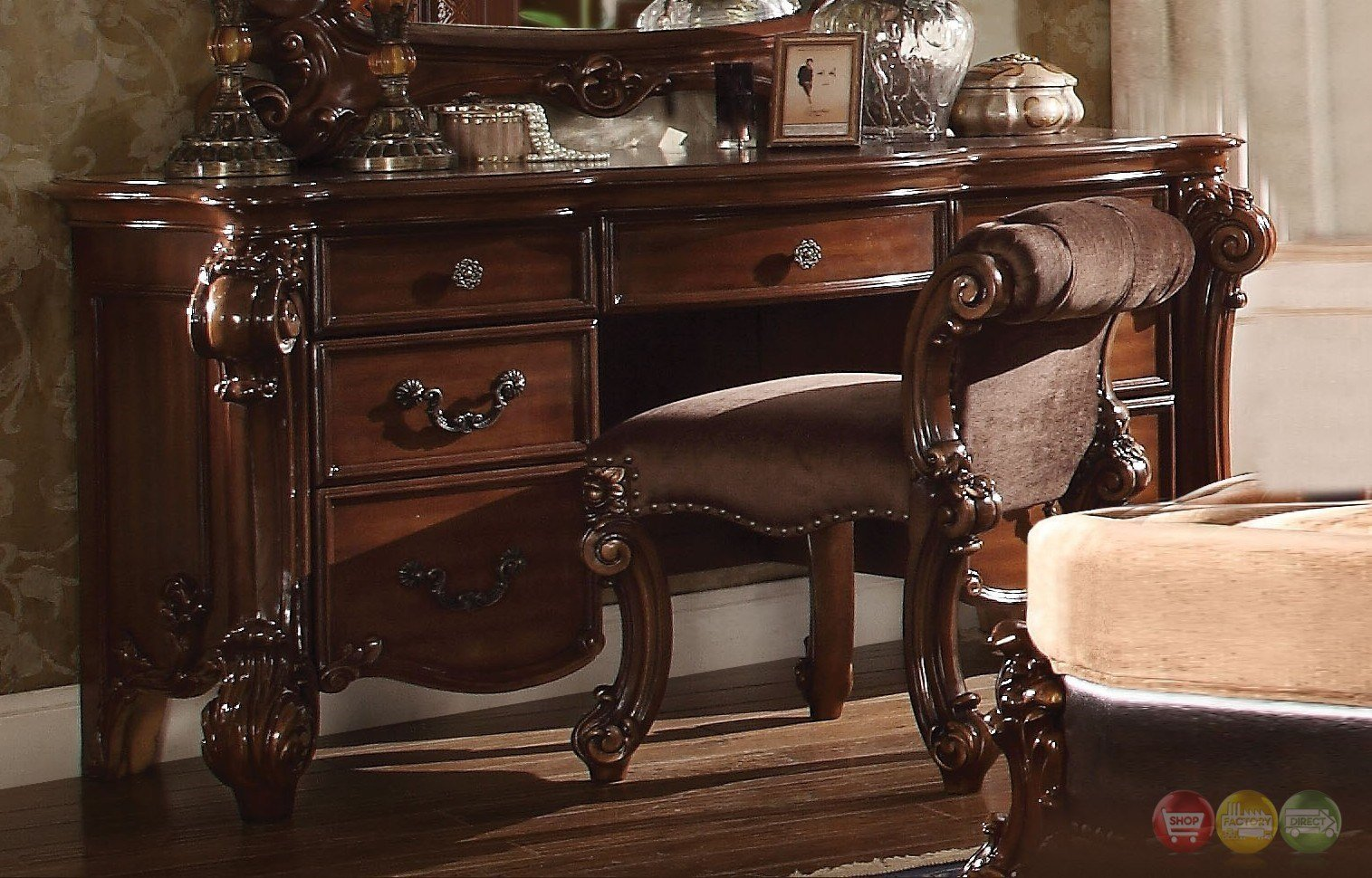 Best Vendome Victorian 7 Drawer Bedroom Vanity Desk In Cherry Finish With Pictures