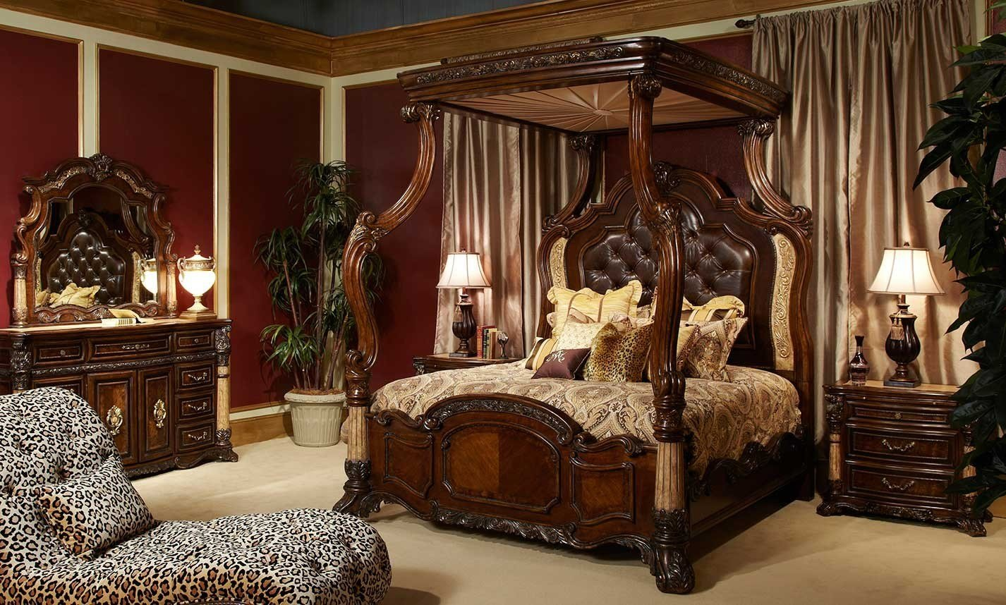 Best Michael Amini Victoria Palace Bedroom Set W Canopy Bed In With Pictures