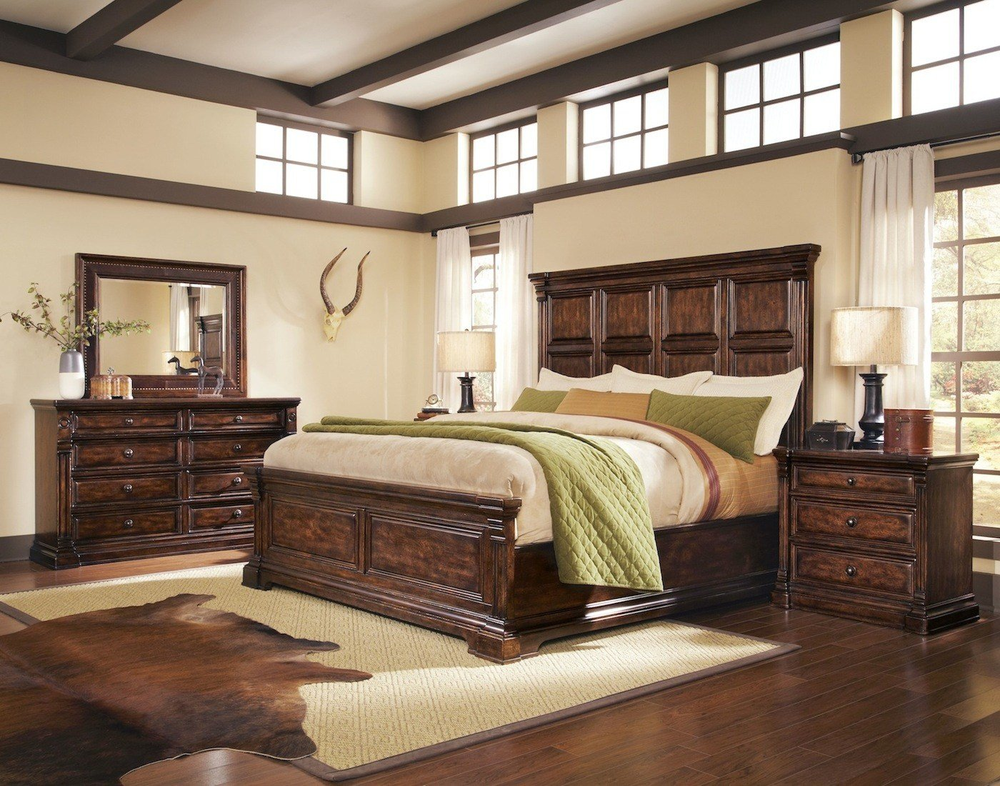 Best Whiskey Oak Rustic Inspired Wooden Panel Bedroom Set 205000 With Pictures