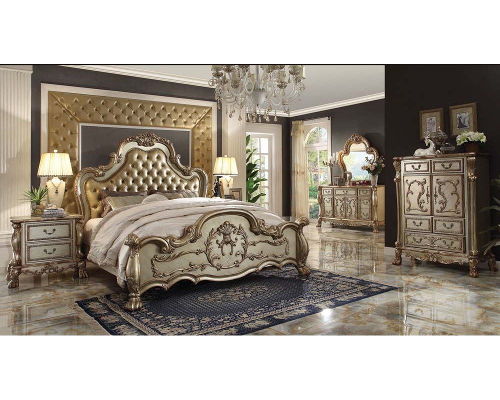 Best Bedroom Set Dresden Gold By Acme Furniture Ac2316Set With Pictures