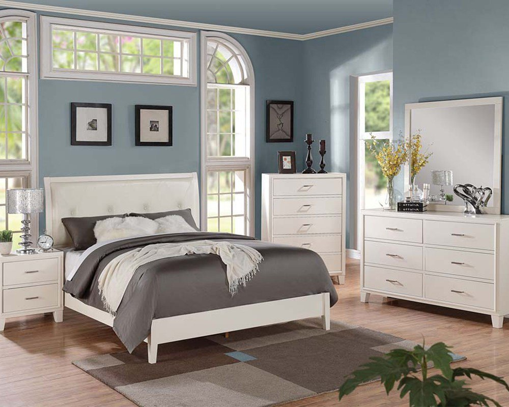 Best Contemporary Cream Bedroom Set Tyler By Acme Furniture With Pictures