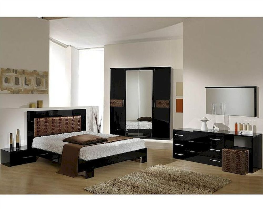 Best Modern Bedroom Set In Black Brown Finish Made In Italy With Pictures