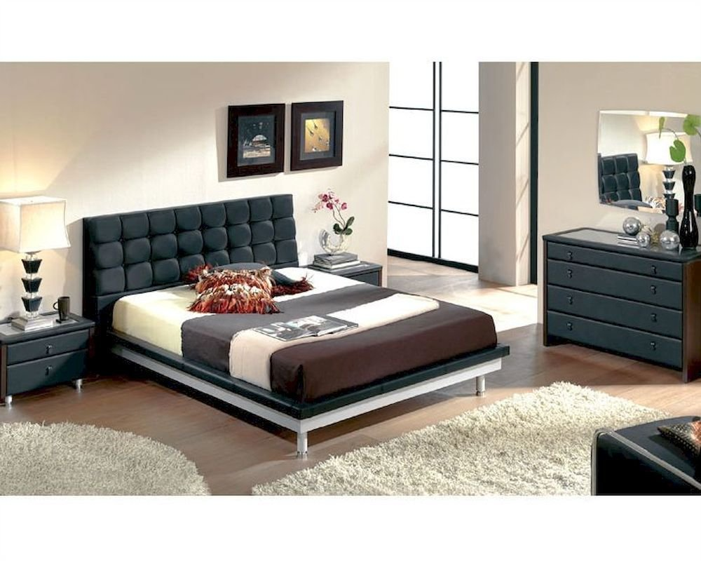 Best Modern Bedroom Set In Black Made In Spain 33B51 With Pictures
