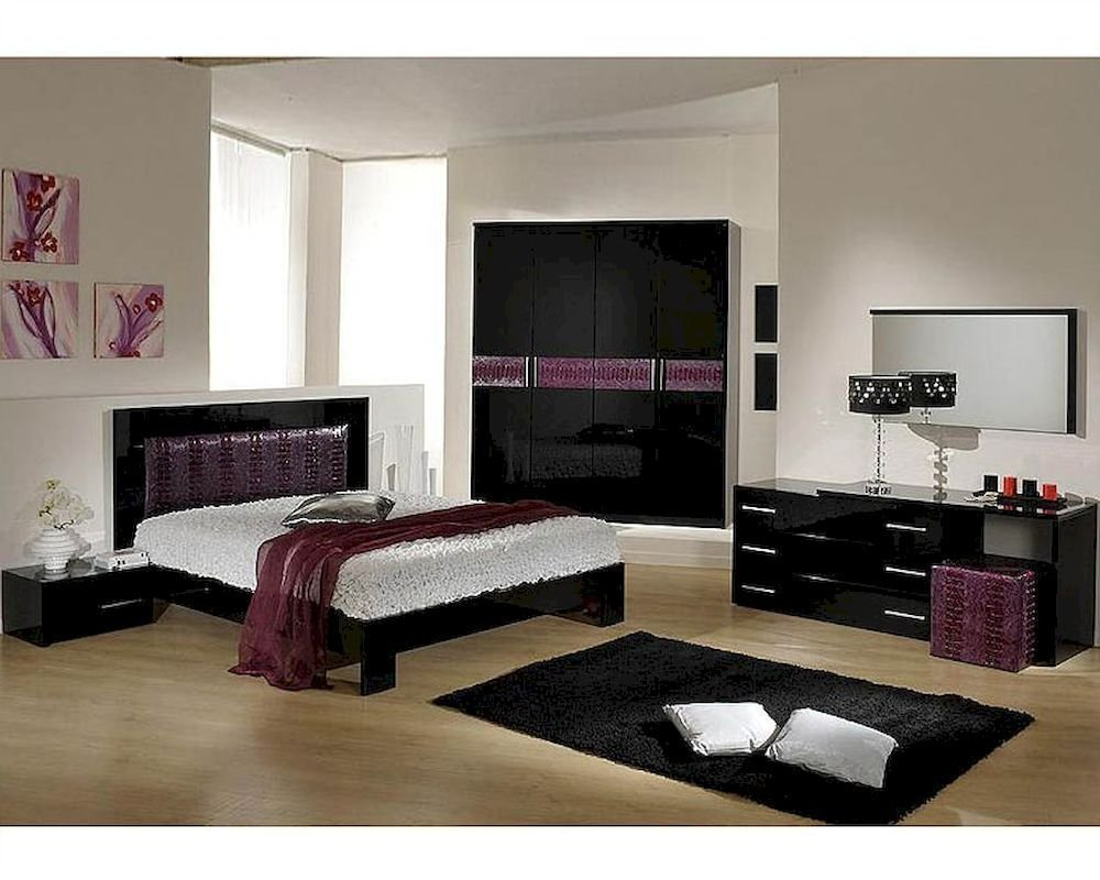 Best Modern Bedroom Set In Black Purple Finish Made In Italy With Pictures