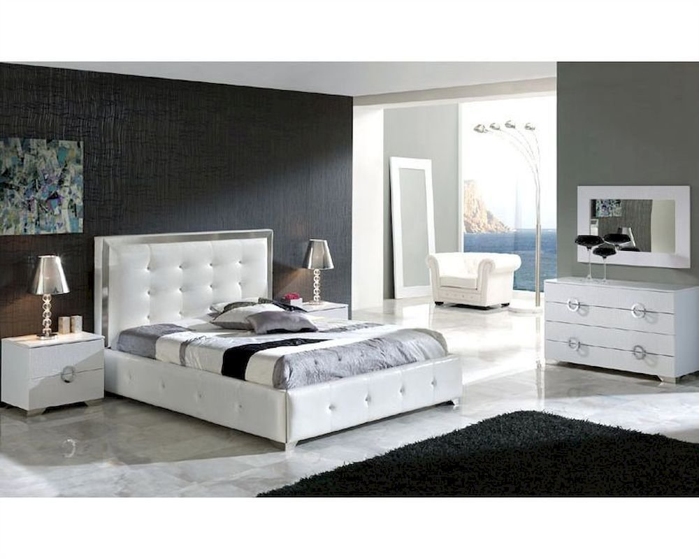 Best Modern Bedroom Set Valencia In White Made In Spain 33B241 With Pictures