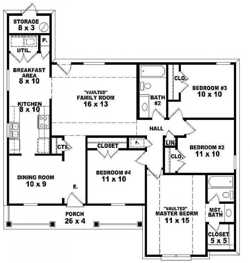 Best 2 Bedroom One Story Homes 4 Bedroom 2 Story House Floor With Pictures