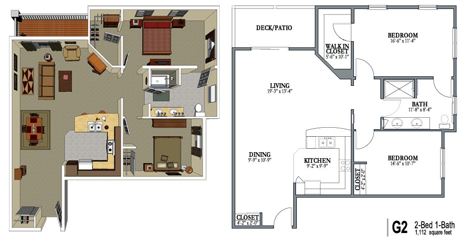 Best 2 Bedroom 1 Bath Apartment Floor Plans 2 Bed One Bath With Pictures
