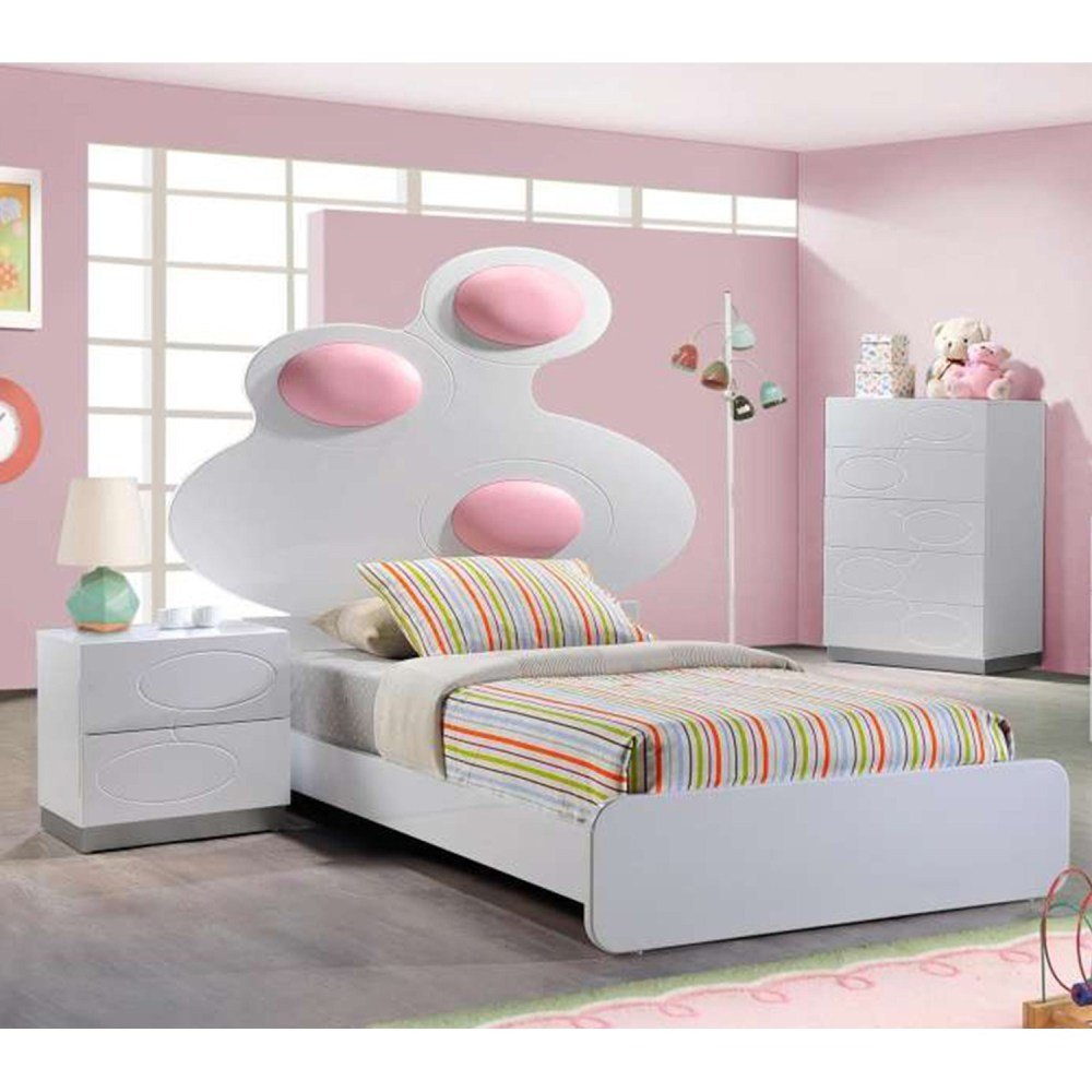 Best Lola Bedroom Set White Pink Dcg Stores With Pictures