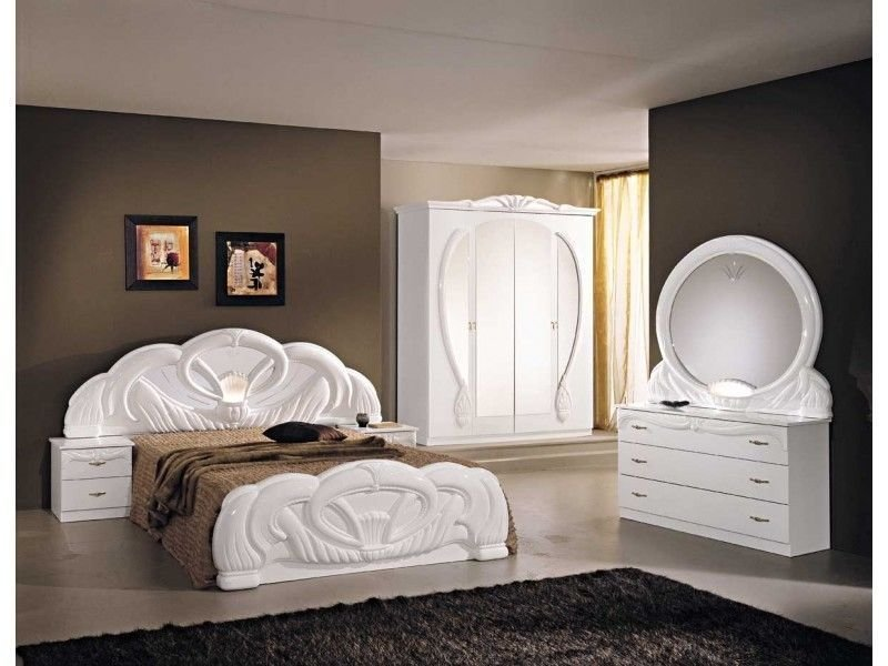 Best Italian White High Gloss Bedroom Furniture Set Homegenies With Pictures