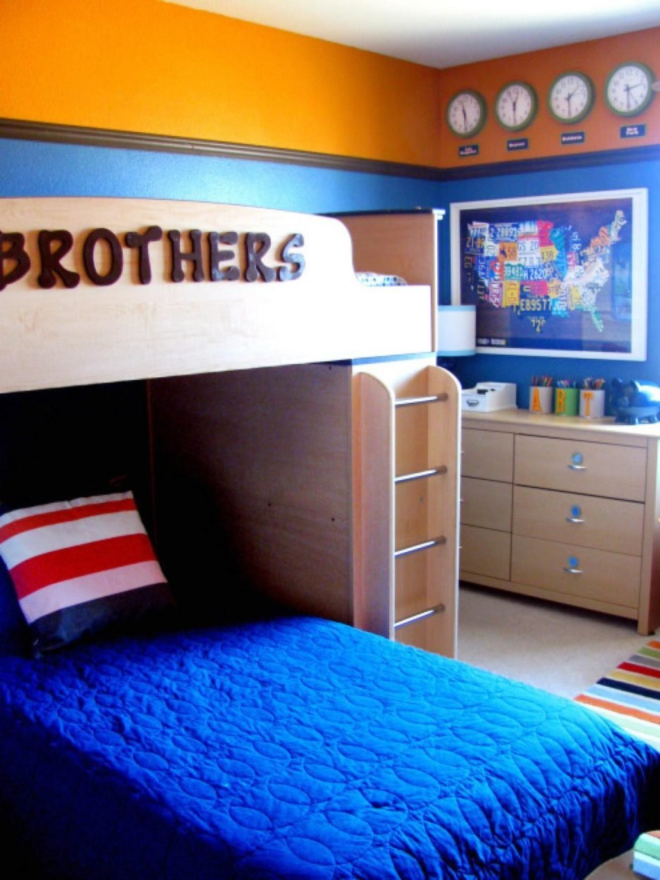 Best Cream Kid Bedroom Wall Color Behind Striped Blue Bedding With Pictures