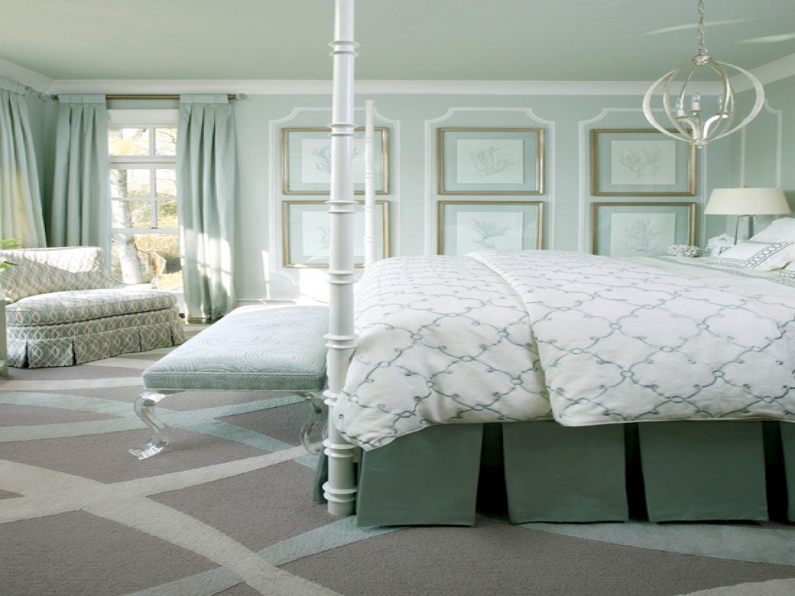 Best Chic Bedroom With Gray Walls And Seafoam Green Ceiling Art With Pictures