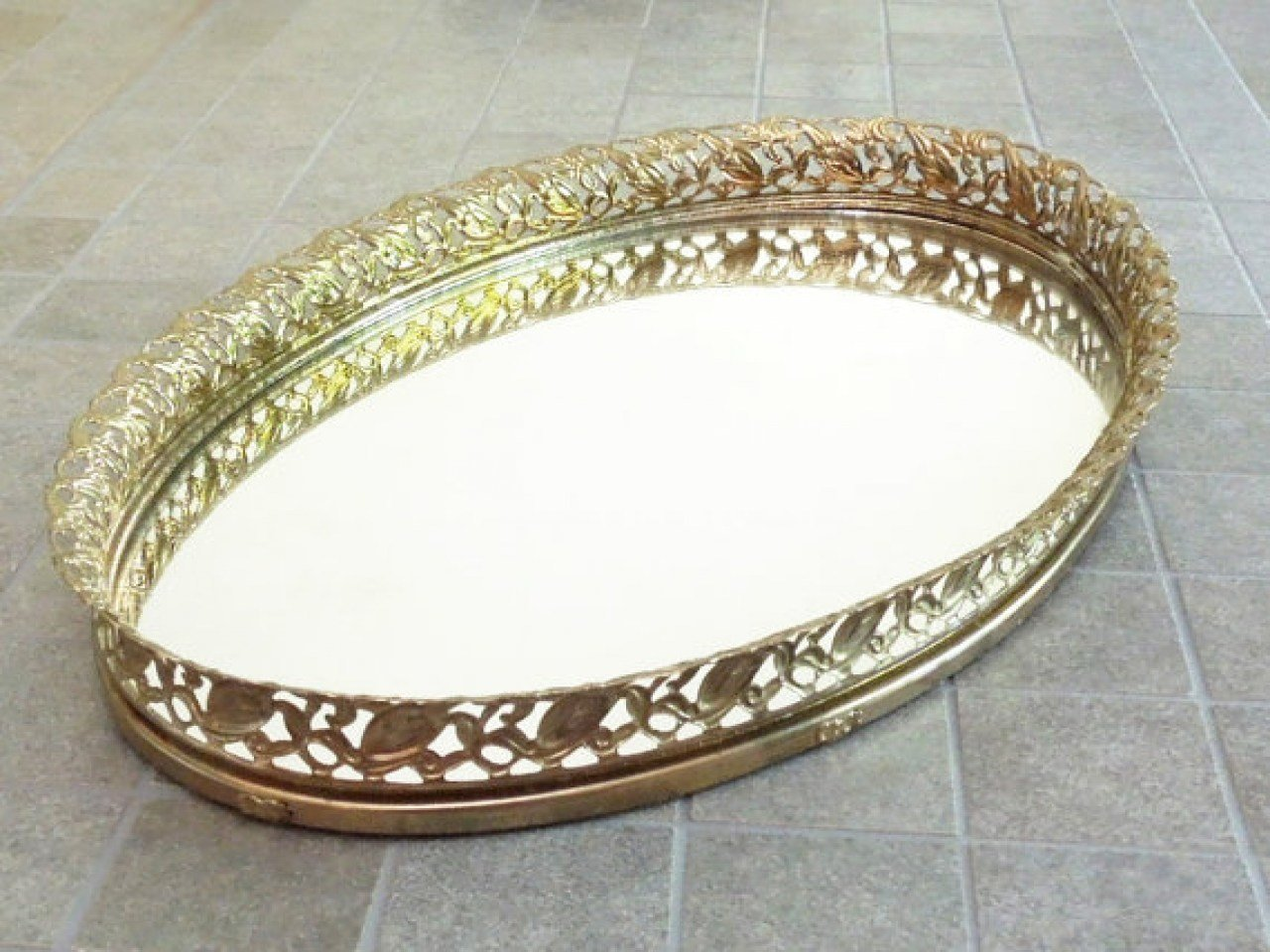 Best Brass Mirror Vanity Tray With Filigree Frame Dresser Top With Pictures